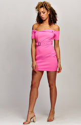Neon Pink Zip Front Self Belt Biker Bardot Dress