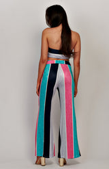 Stripe Tube Top und Krawatte vorne Hose Co-Ord Set