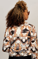 Baroque Print Button Front Jacket