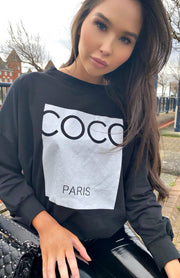 Zwart COCO Paris sweatshirt
