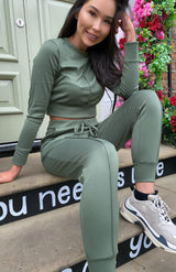 Khaki grünes Pocket Detail Top & Jogger Co Ord Set
