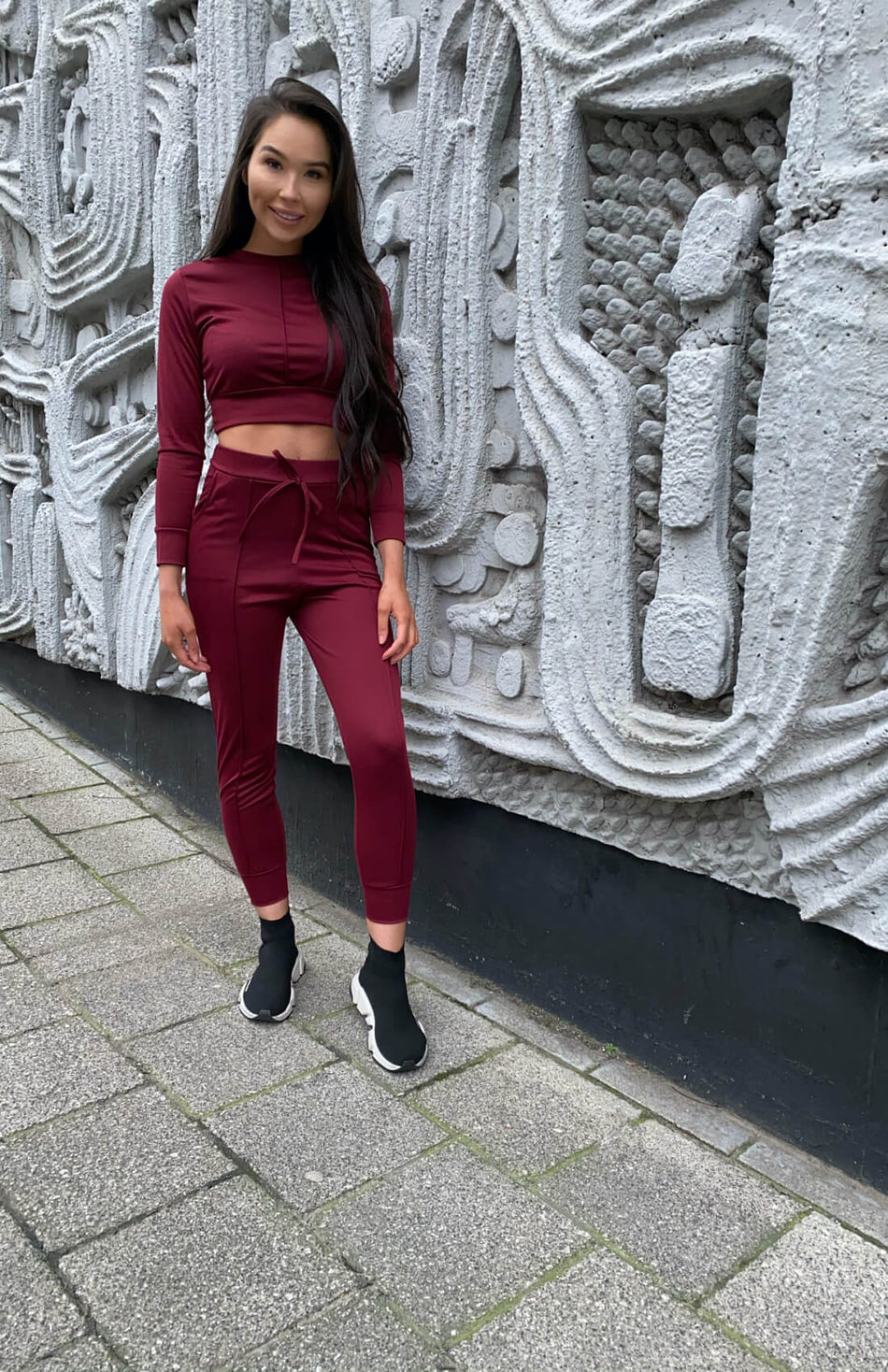 Wine Pocket Detail Top & Joggers Co Ord Set