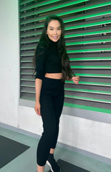Black Rib Knit Turtle Neck Crop Top & Legging Lounge Conjunto