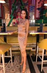Bronze Satin Cowl Neck Bodycon Midi Dress