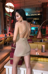 Mocha Plunge Halter Neck Bodycon Dress