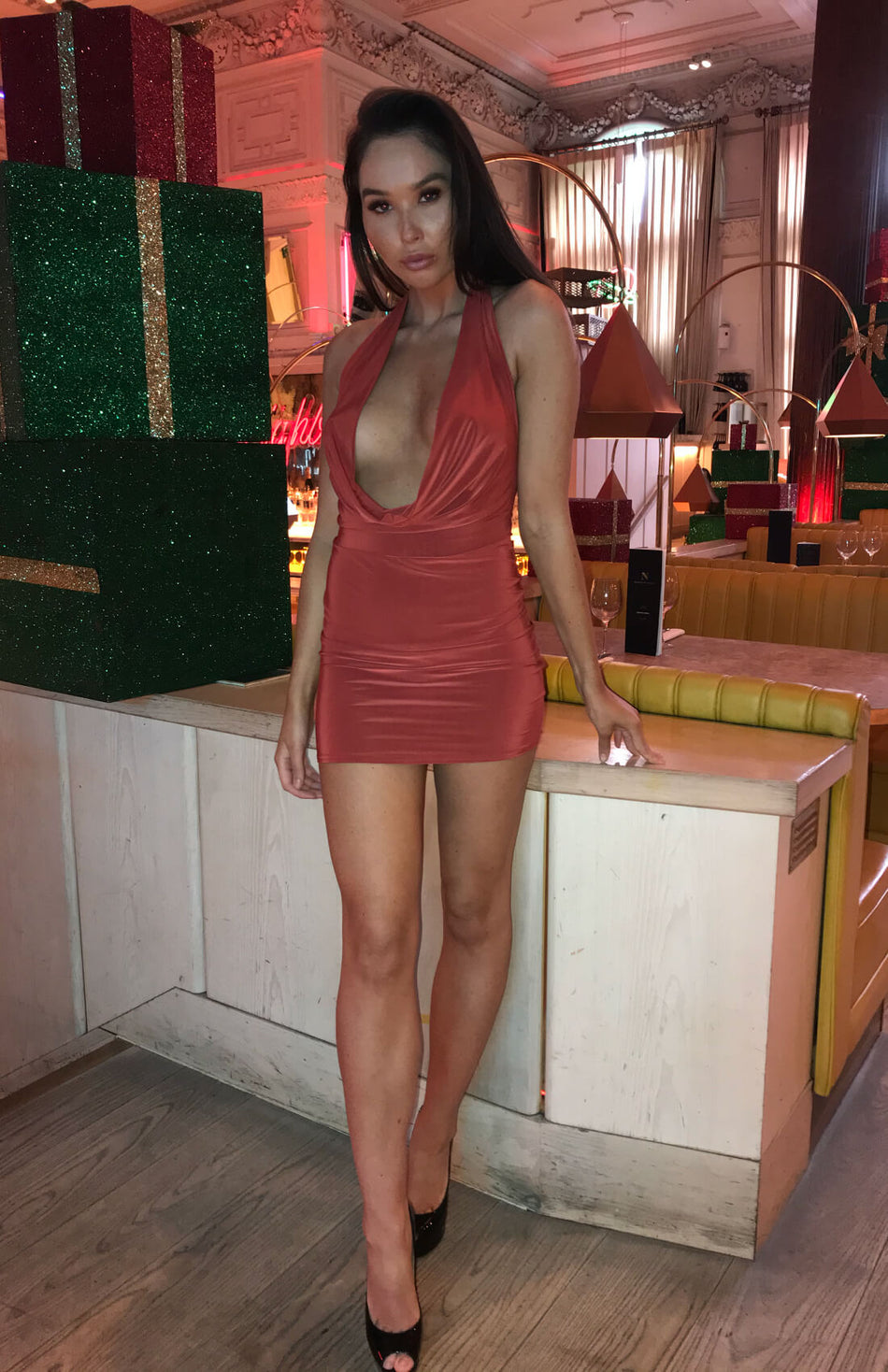 Rust Plunge Halter Neck Bodycon Dress