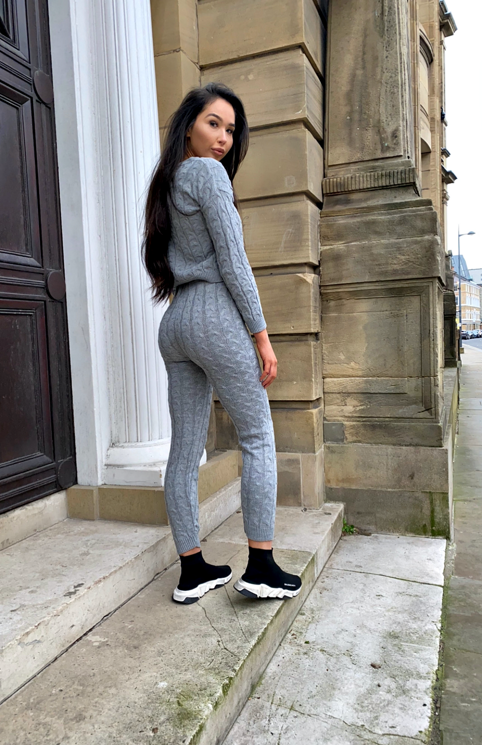 Grey Cable Knit Long Sleeve Cropped Top & Legging Loungewear Set