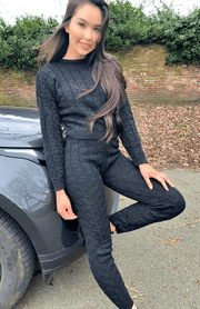 Black Cable Knit Long Sleeve Cropped Top & Legging Loungewear Set