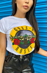 Wit Guns & Roses klassiek logo T-shirt