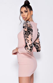 Pink Long Sleeve Organza High Neck Bodycon Dress
