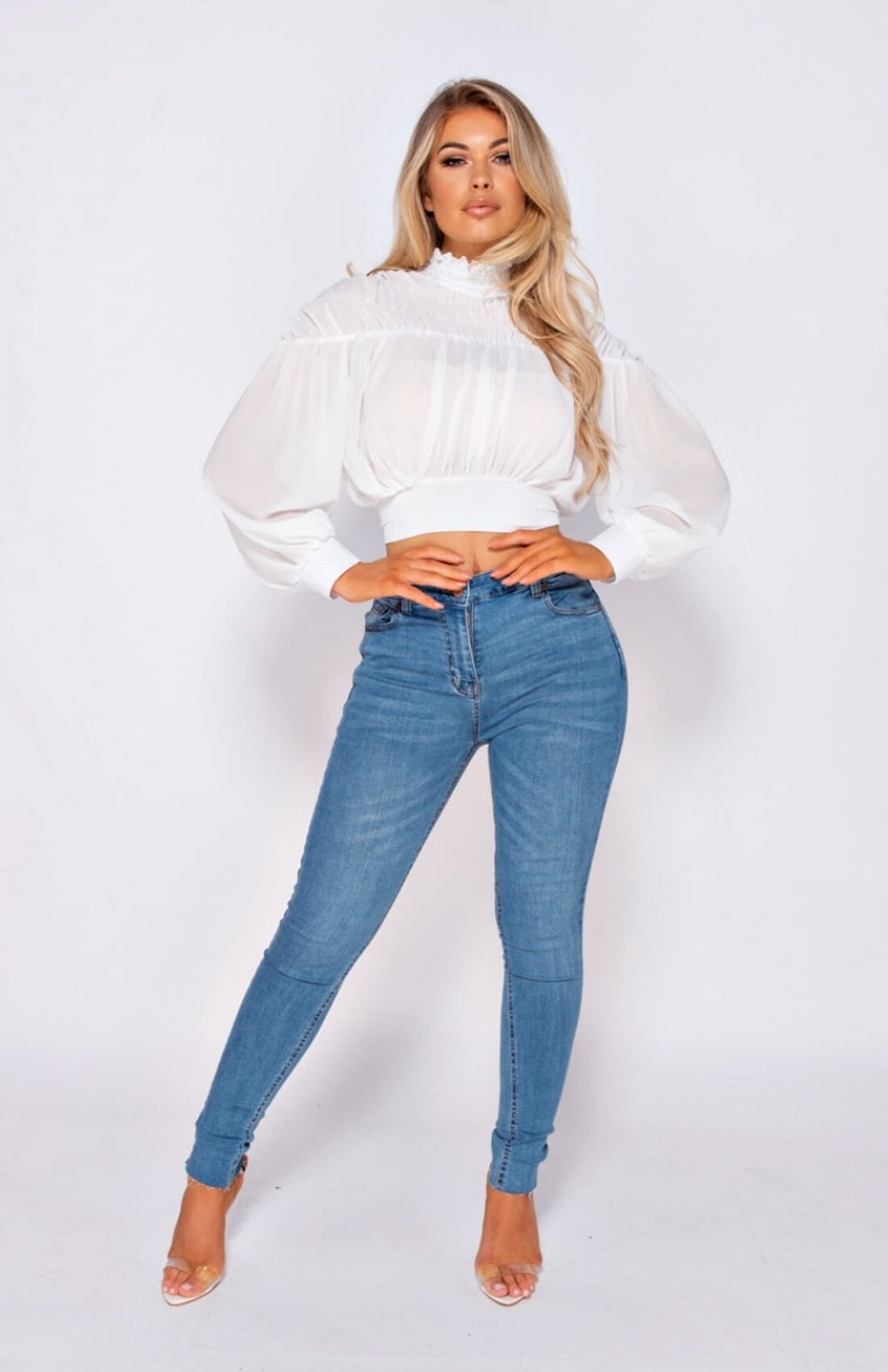 Weißes High Neck Tie Back Puff Sleeve Crop Top
