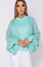 Mint Green Chiffon Sleeve Batwing Top