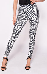 Black & White Zebra Print High Waist Leggings