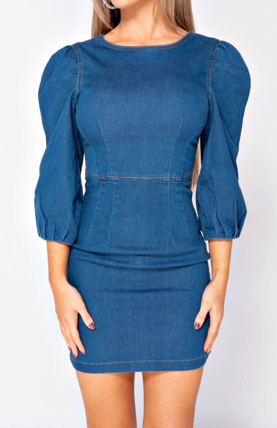 Denim Puff Sleeve Zip Back Mini Dress