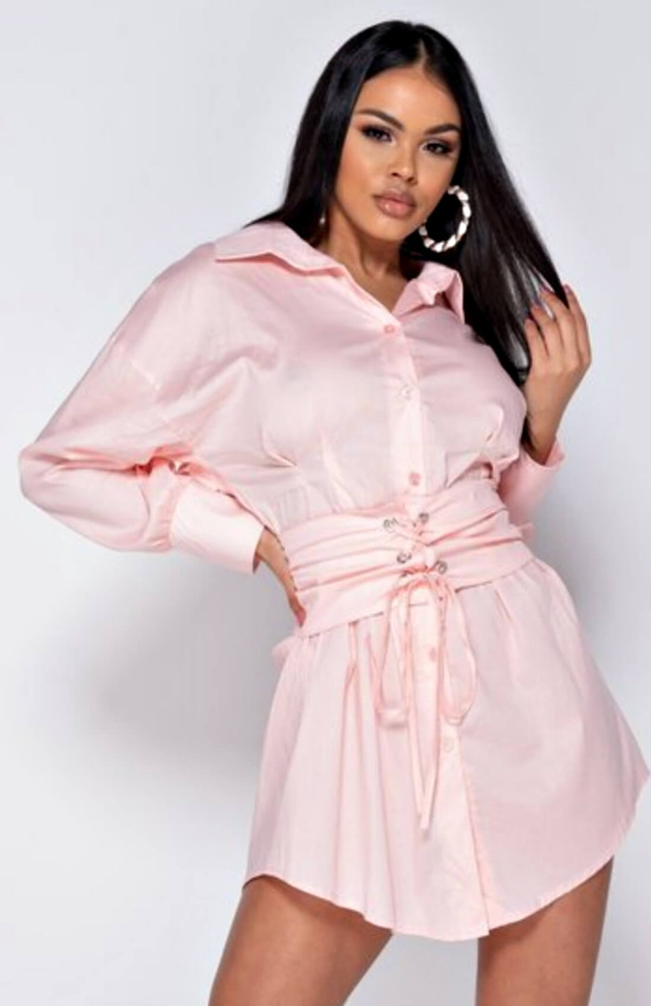 Pink Long Sleeve Belted Shirt Dress