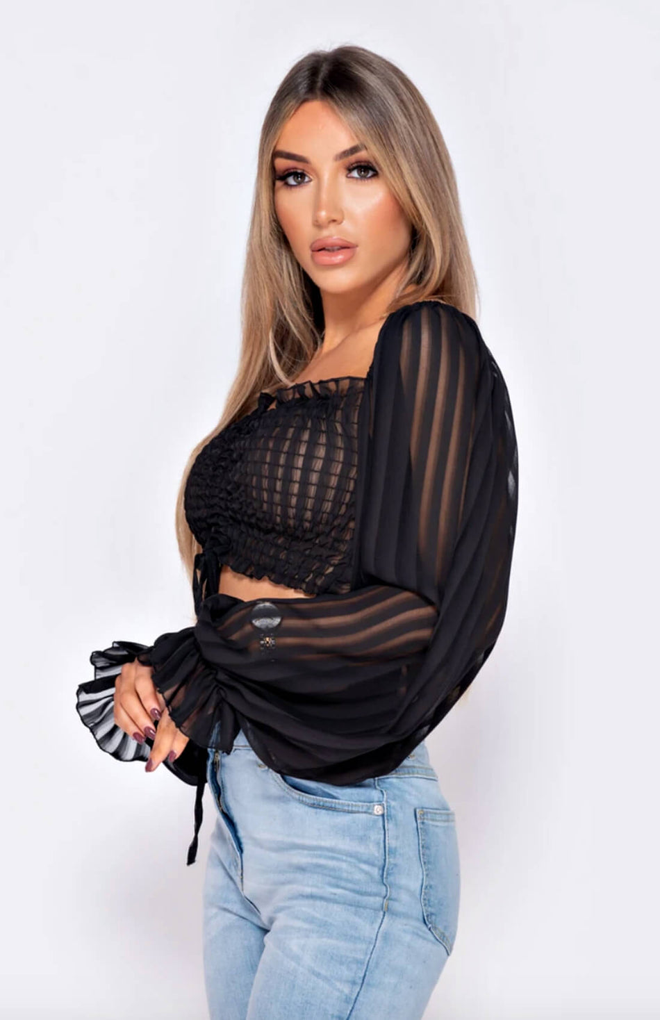 Black Puff Sleeve Tie Front Crop Top