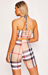 Beige Checked Two Piece Playsuit