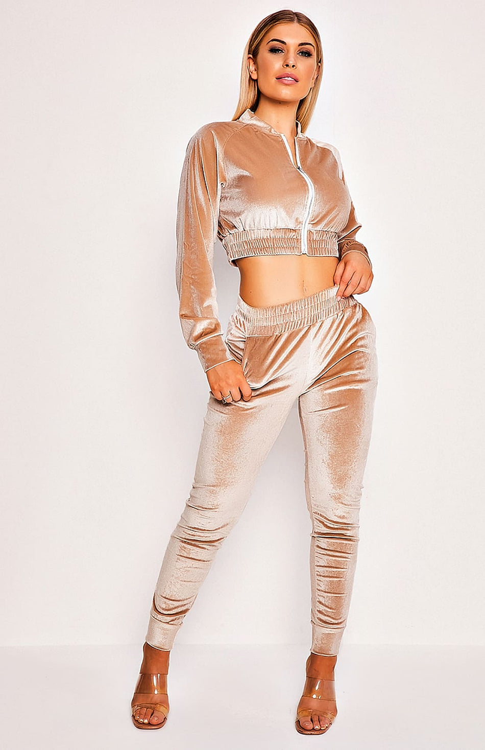 Beige Suede Cropped Two Piece Tracksuit