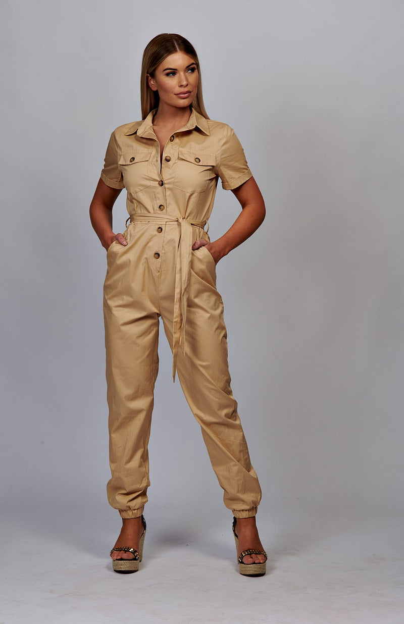 Beige Utility Button Up Tie Waist Jumpsuit