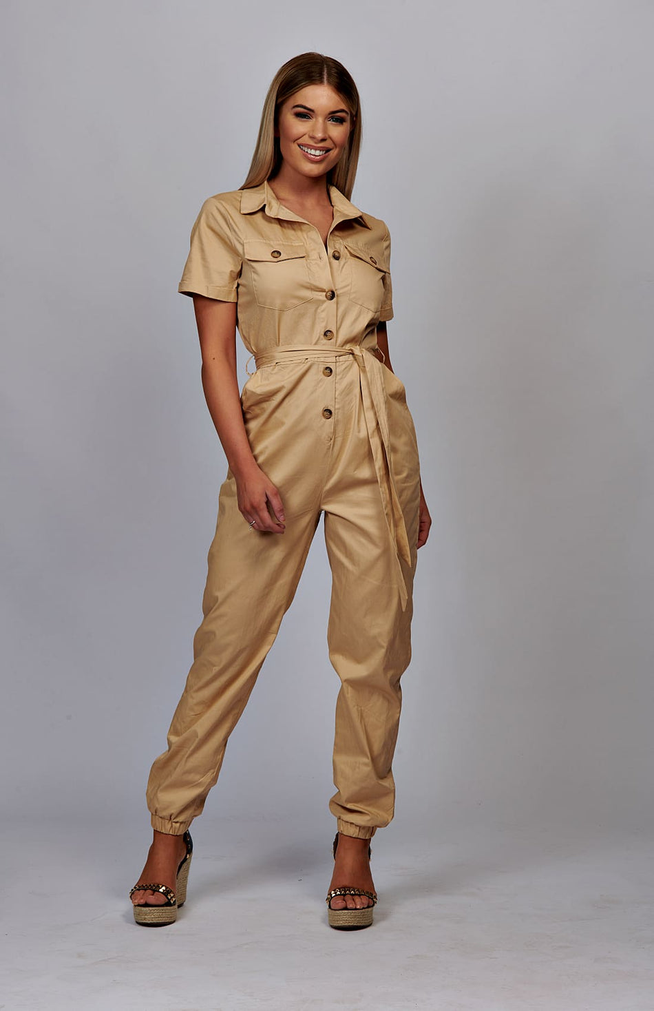 Beige Utility Button Up Tie Taille Overall