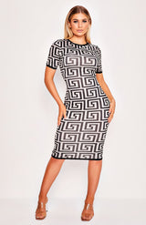 Black Abstract Print Short Sleeve Midi Dress
