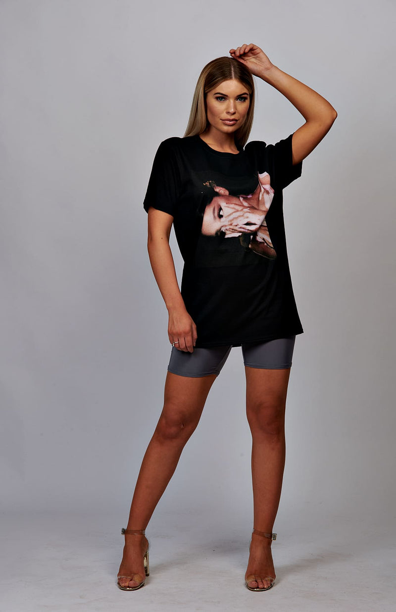 Black Ariana Grande Side View T-Shirt