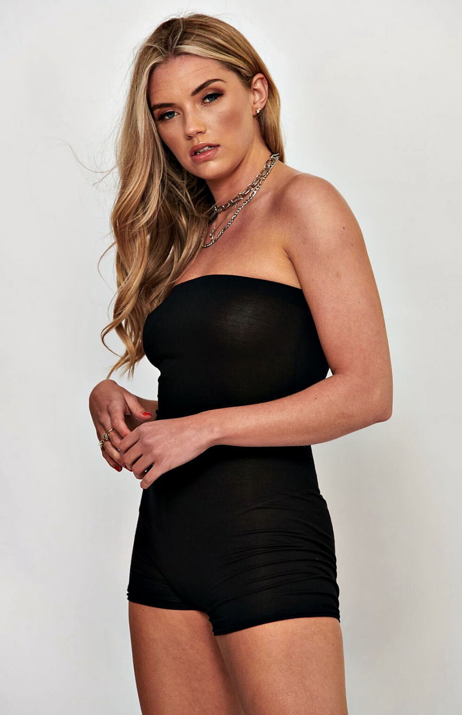 Black Bandeau Stretch Bodycon Playsuit