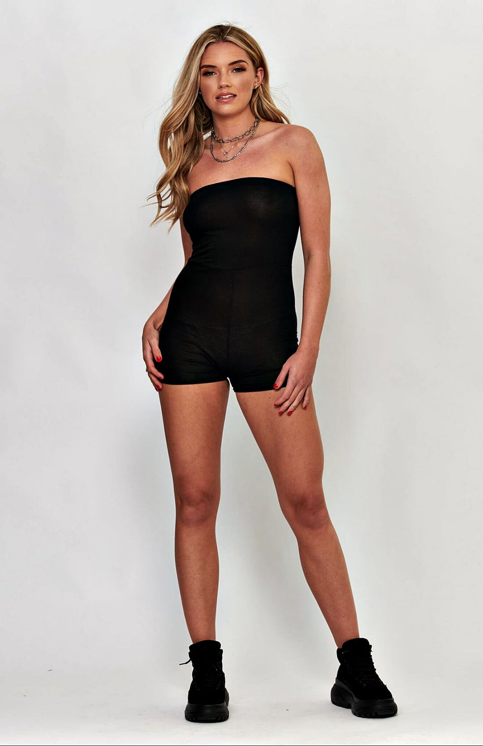 Zwarte bandeau stretch bodycon speelpak