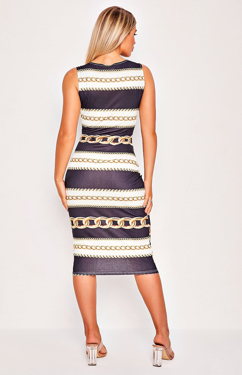 Black Chain Print Sleeveless Midi Dress