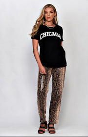 T-Shirt nera con stampa Chicago