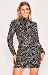 Black & Gold Velvet Geometric Design, figurbetontes Kleid