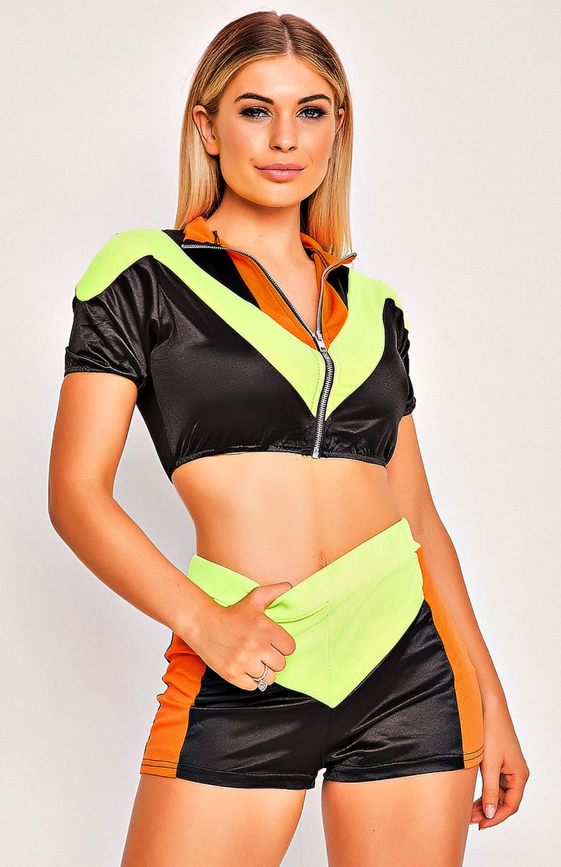 Black & Green Zip Front Two Piece Playsuit