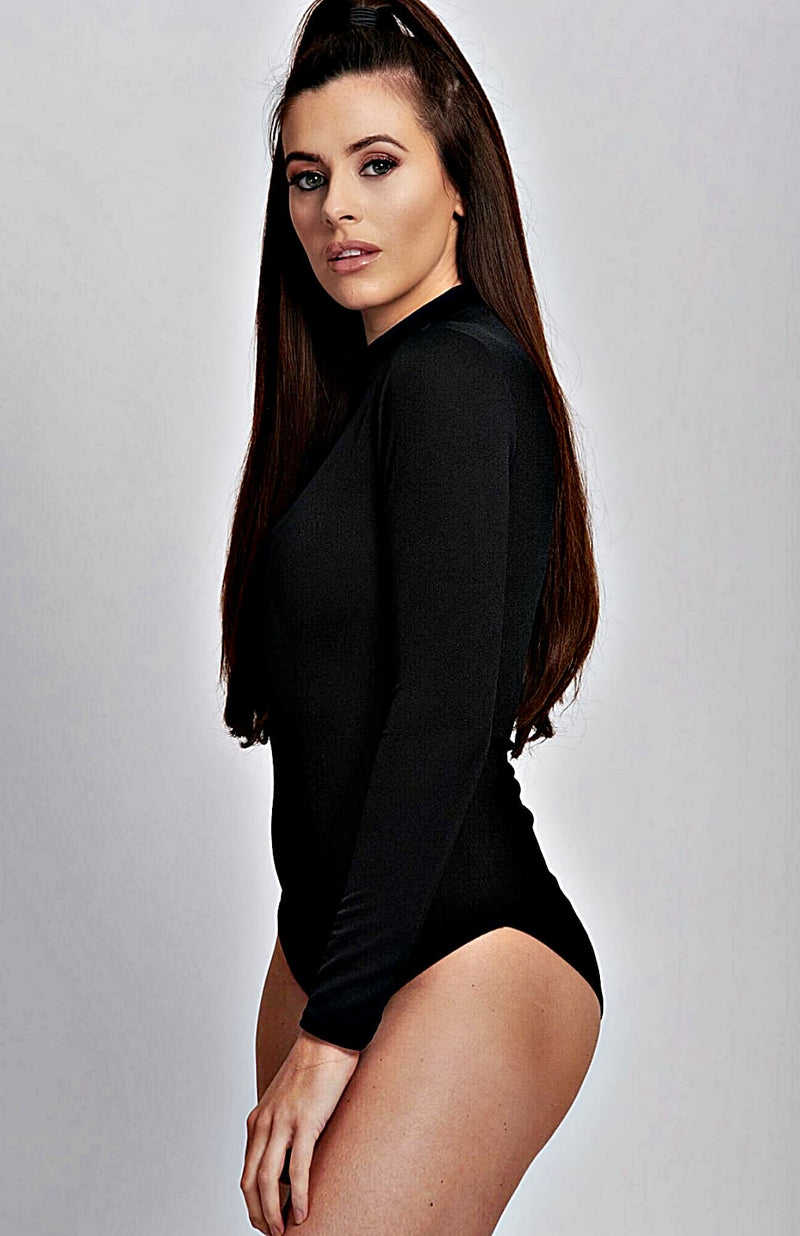 Black High Neck Long Sleeve Bodysuit