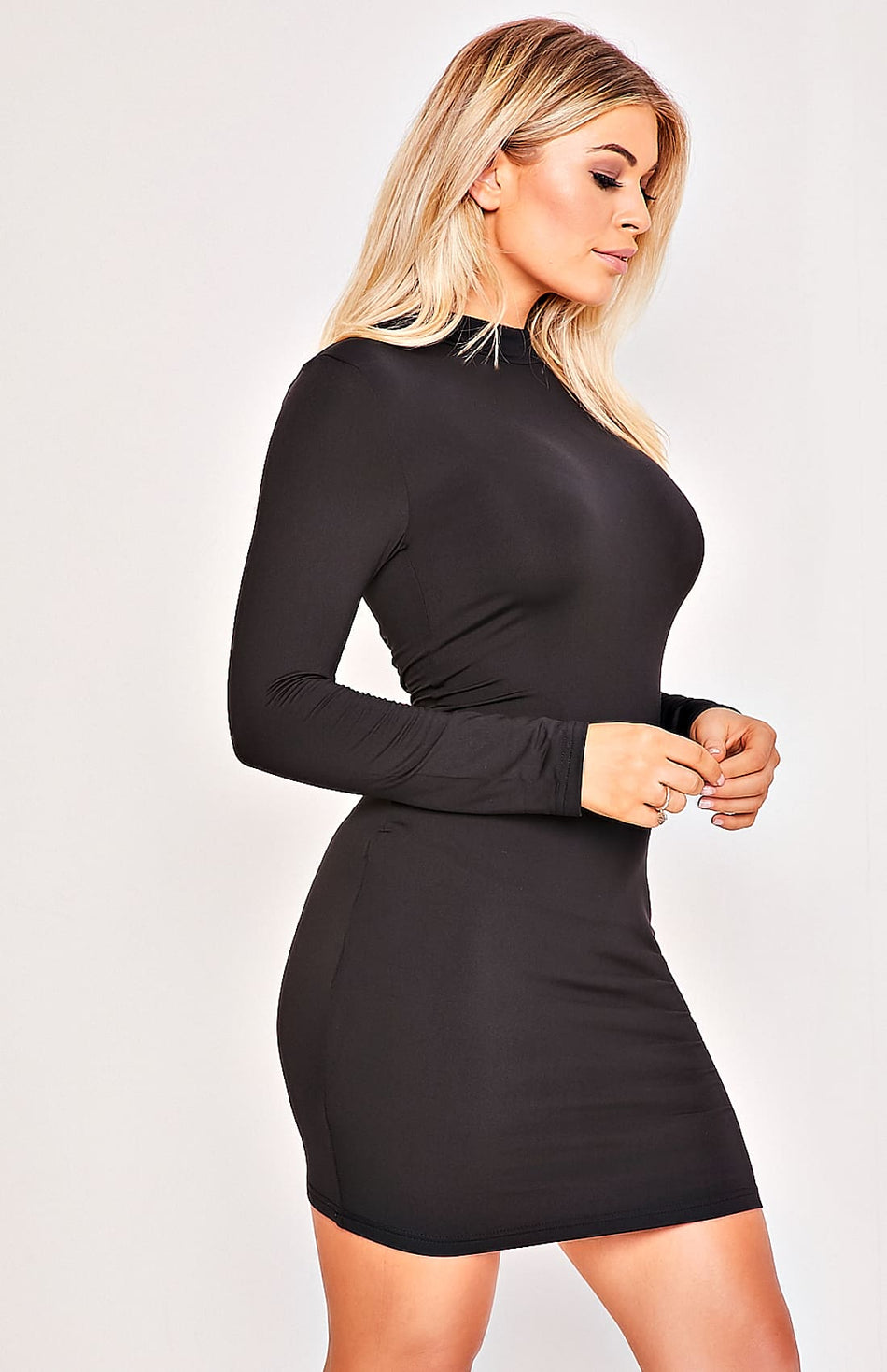 Black High Neck Zip Back Long Sleeve Bodycon Dress