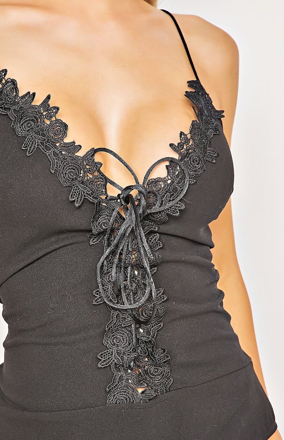 Black Lace Trim Tie Front Bodysuit