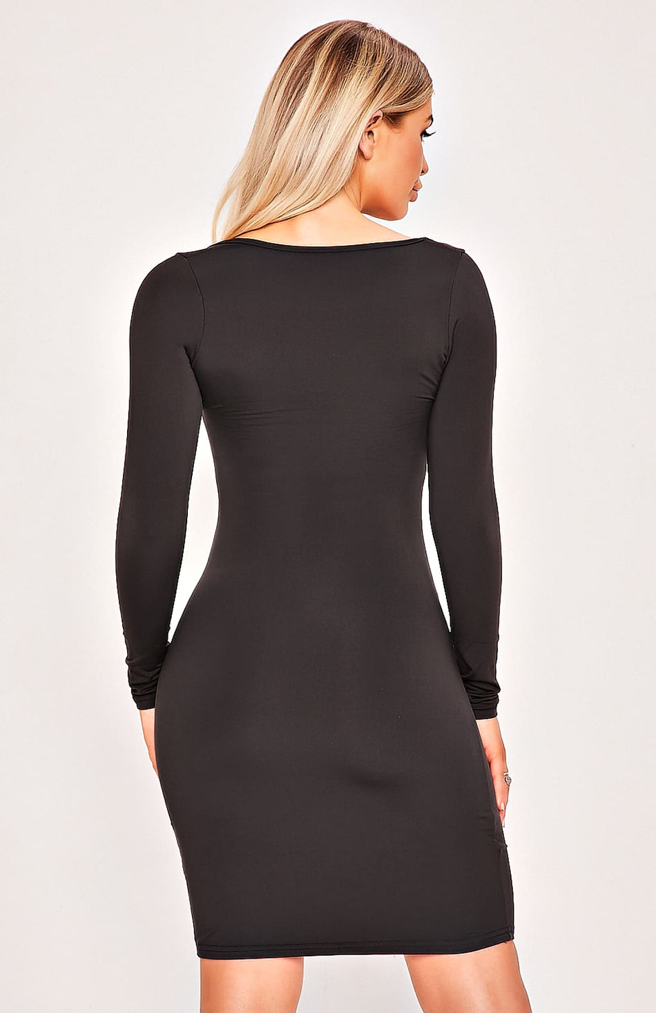 Black Long Sleeve Plunge Bodycon Dress