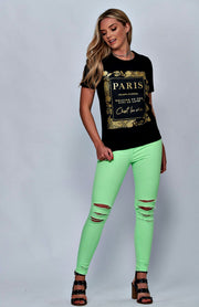 Zwart Paris Slogan T-shirt