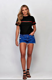 Black Red Striped T-Shirt