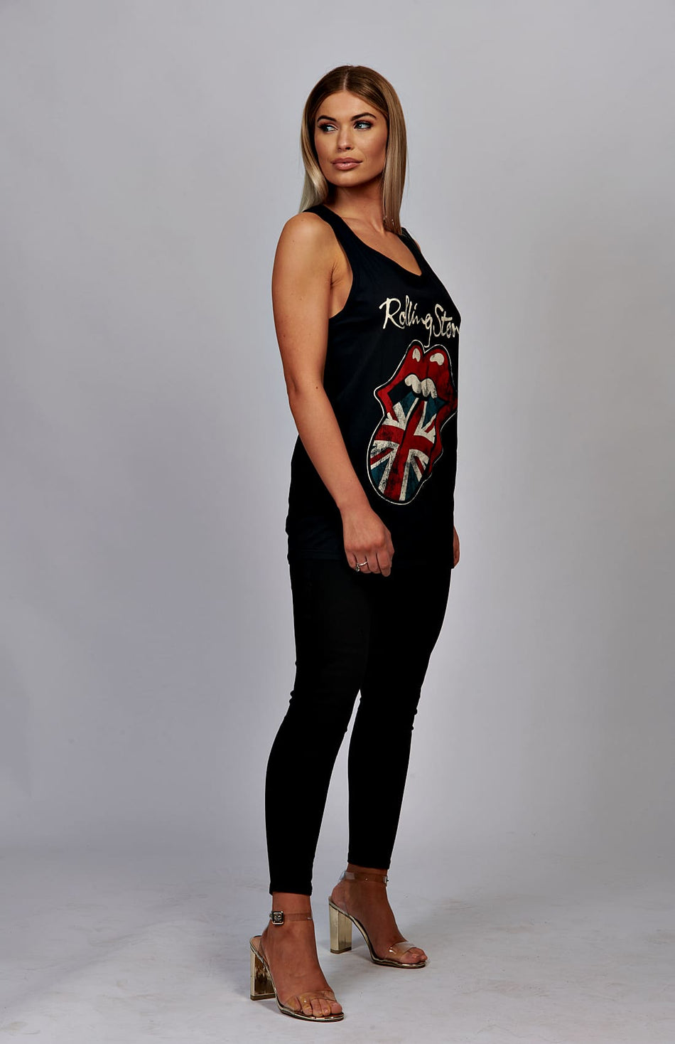 Black Rolling Stones GB Tongue Graphic Vest