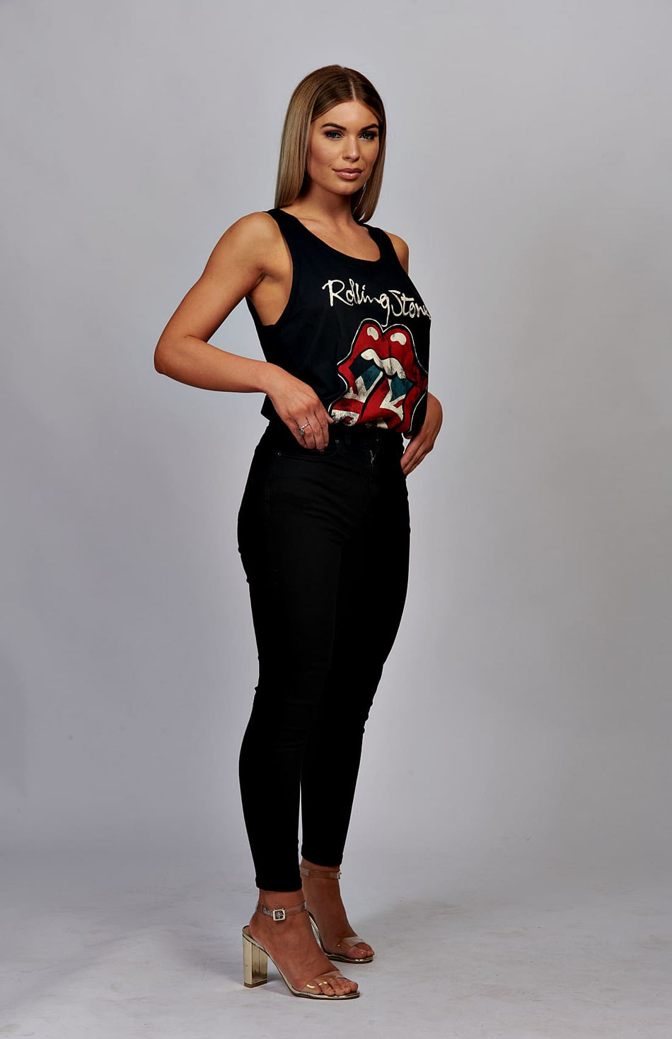 Black Rolling Stones GB Tongue Vest