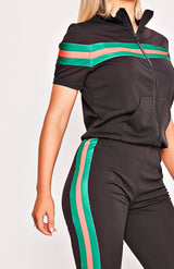 Black Short Sleeve Green Striped Tracksuit