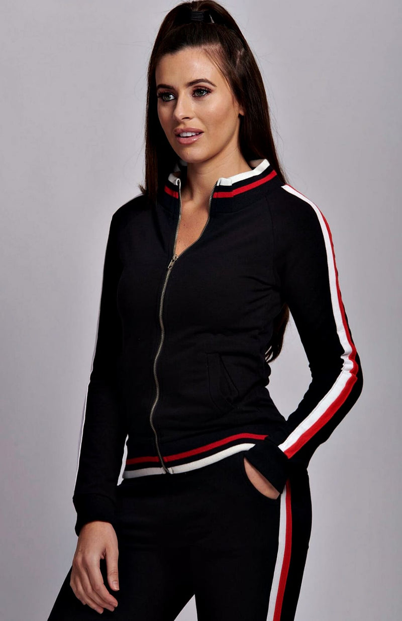 Black Side Stripe Zip Up Front Top & Leggings Set