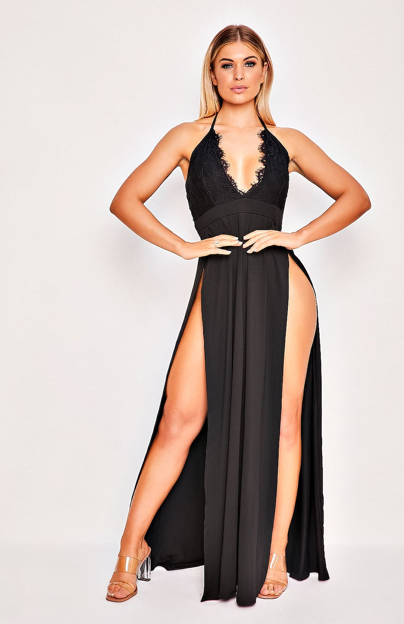 Black Splice Hanging V Neck Split Leg Maxi Dress
