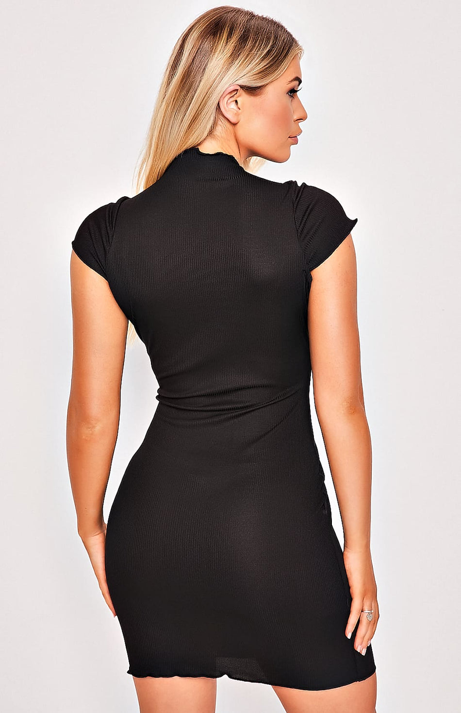 Black Stretch Knit High Neck Mini Dress