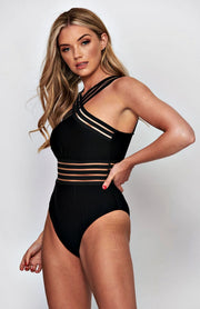Black Mesh Stripe Swimsuit