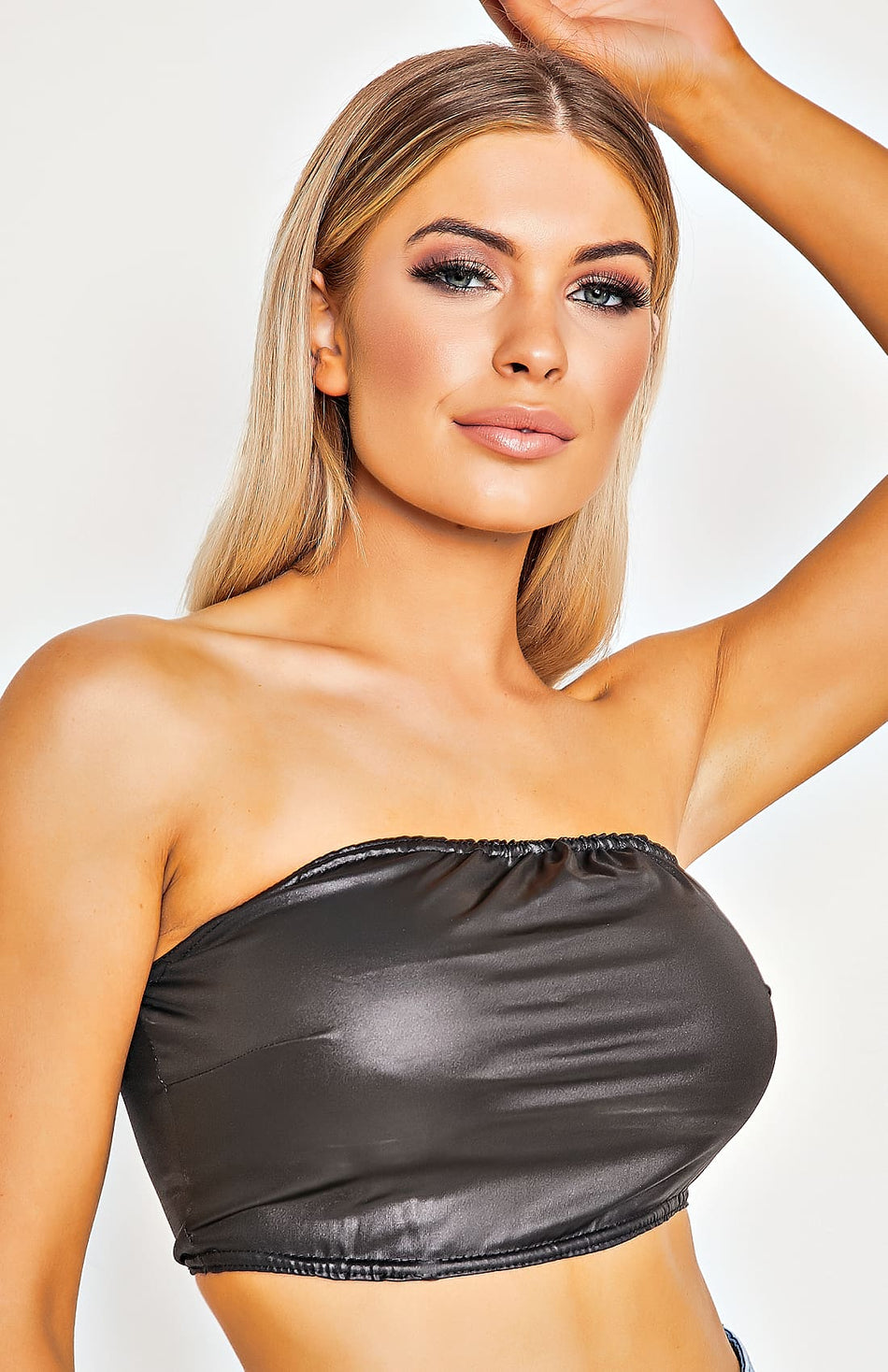 Black Wet Look Bandeau Crop Top