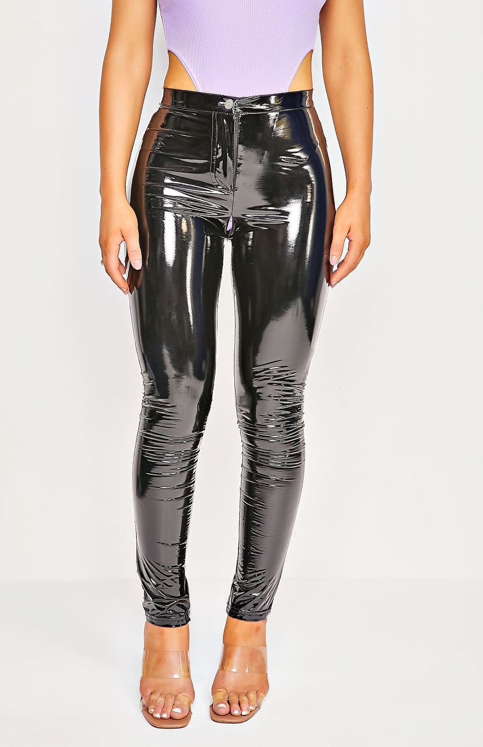 Black Wet Look PU High Waisted Skinny Trousers