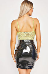 Black Wet Look PU Seam Detail Mini Skirt