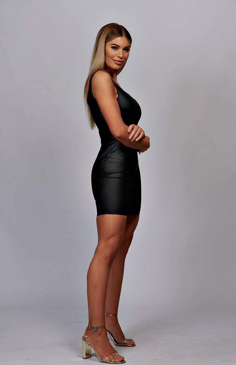 Black Wet-Look Scoop Neck Bodycon Dress