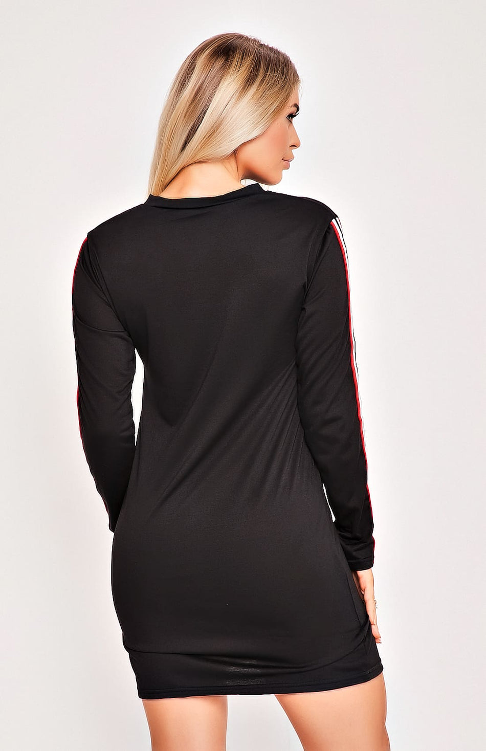 Black With Red Side Striped Bodycon Mini Dress